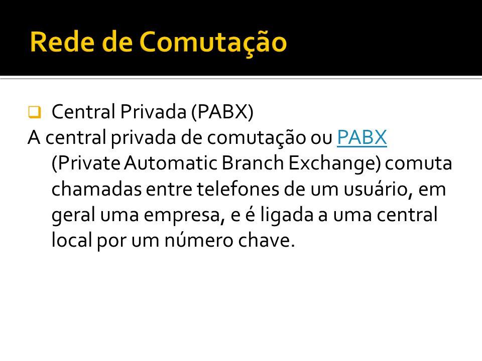 Central Privada (PABX) O uso de PABX é particular e normalmente é interligada através de linhas tronco a uma central de comutação telefônica pública, que permite a seus terminais, denominados ramais, o acesso à Rede de Telecomunicações interna ou externa, através de comutação automática.Rede de Telecomunicações