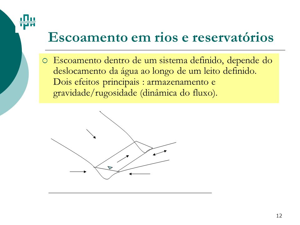 12 Escoamento em rios e reservatórios Escoamento dentro de um sistema definido, depende do deslocamento da água ao longo de um leito definido. Dois ef
