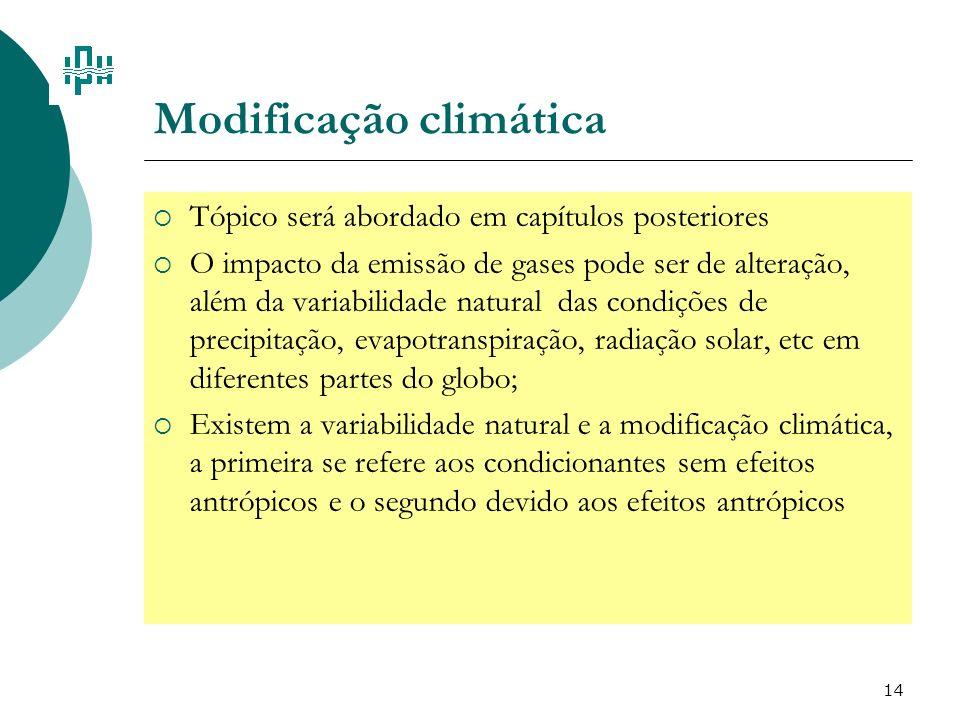 14 Modificação climática Tópico será abordado em capítulos posteriores O impacto da emissão de gases pode ser de alteração, além da variabilidade natu