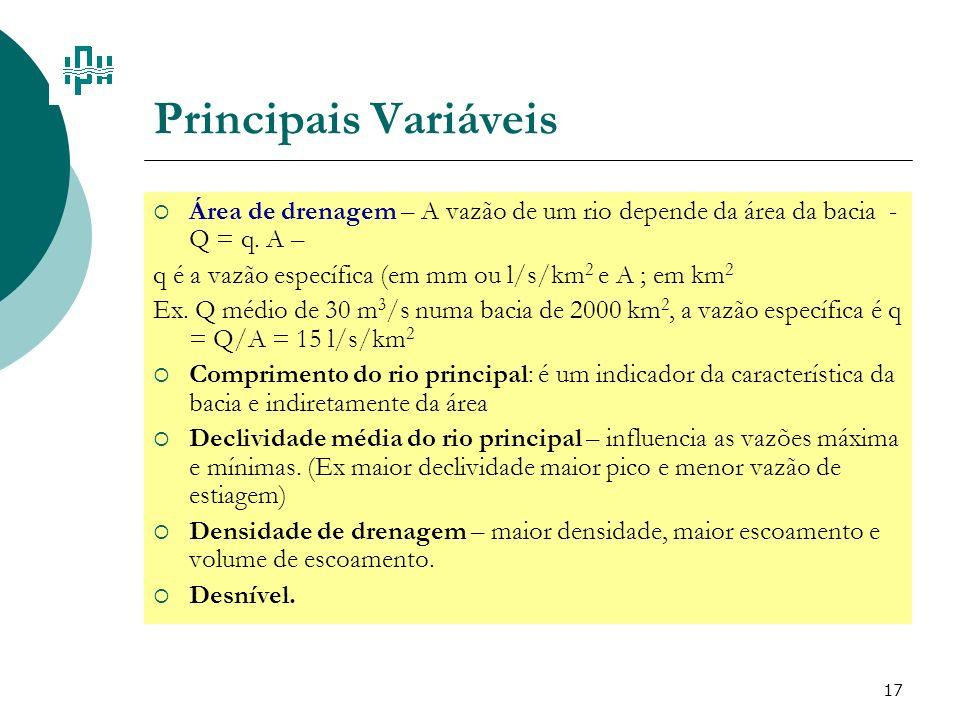 17 Principais Variáveis Área de drenagem – A vazão de um rio depende da área da bacia - Q = q. A – q é a vazão específica (em mm ou l/s/km 2 e A ; em