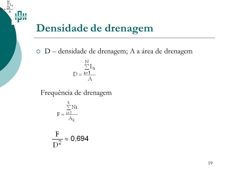 19 Densidade de drenagem D – densidade de drenagem; A a área de drenagem Frequência de drenagem