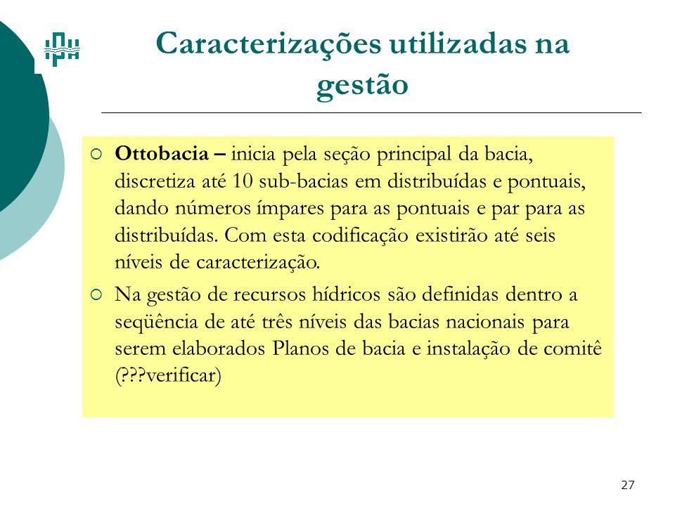 27 Caracterizações utilizadas na gestão Ottobacia – inicia pela seção principal da bacia, discretiza até 10 sub-bacias em distribuídas e pontuais, dan