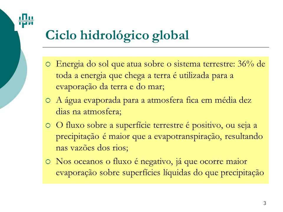 3 Ciclo hidrológico global Energia do sol que atua sobre o sistema terrestre: 36% de toda a energia que chega a terra é utilizada para a evaporação da