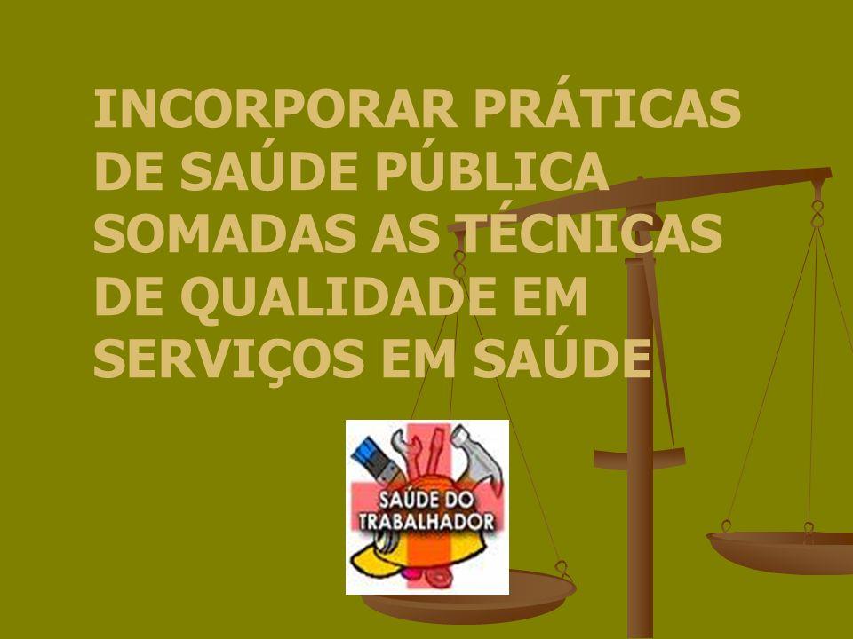 INCORPORAR PRÁTICAS DE SAÚDE PÚBLICA SOMADAS AS TÉCNICAS DE QUALIDADE EM SERVIÇOS EM SAÚDE