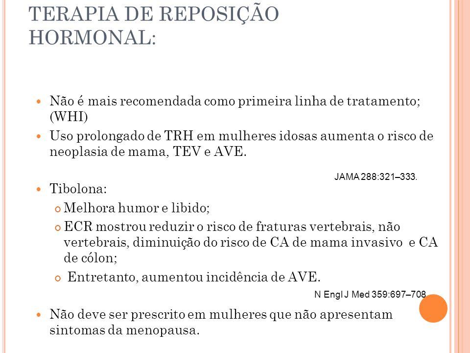 TERAPIA DE REPOSIÇÃO HORMONAL: Não é mais recomendada como primeira linha de tratamento; (WHI) Uso prolongado de TRH em mulheres idosas aumenta o risc