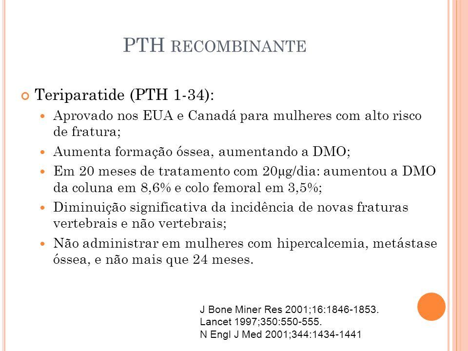 PTH RECOMBINANTE Teriparatide (PTH 1-34): Aprovado nos EUA e Canadá para mulheres com alto risco de fratura; Aumenta formação óssea, aumentando a DMO;