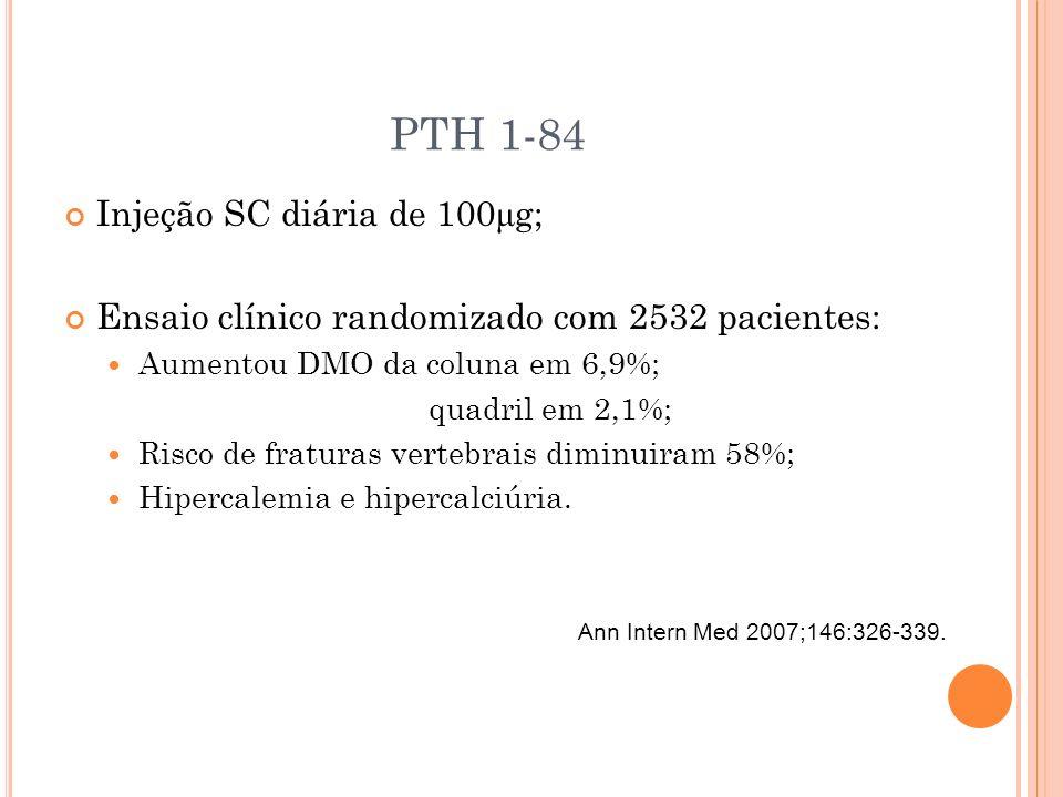PTH 1-84 Injeção SC diária de 100 μ g; Ensaio clínico randomizado com 2532 pacientes: Aumentou DMO da coluna em 6,9%; quadril em 2,1%; Risco de fratur