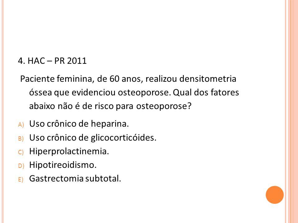 4. HAC – PR 2011 Paciente feminina, de 60 anos, realizou densitometria óssea que evidenciou osteoporose. Qual dos fatores abaixo não é de risco para o