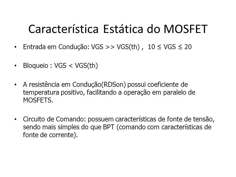 Característica Estática do MOSFET Entrada em Condução: VGS >> VGS(th), 10 VGS 20 Bloqueio : VGS < VGS(th) A resistência em Condução(RDSon) possui coef