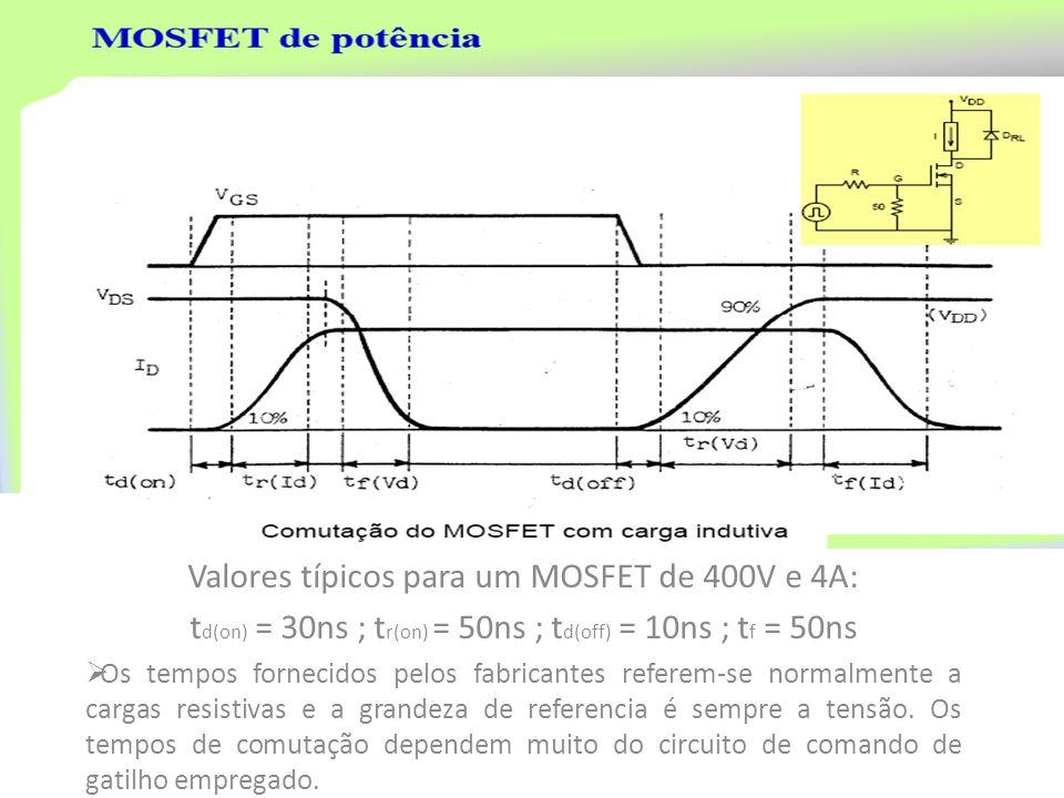Valores típicos para um MOSFET de 400V e 4A: t d(on) = 30ns ; t r(on) = 50ns ; t d(off) = 10ns ; t f = 50ns Os tempos fornecidos pelos fabricantes ref