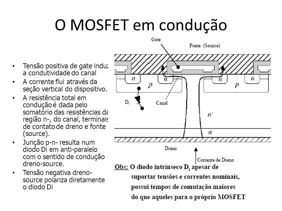 O MOSFET em condução Tensão positiva de gate induz a condutividade do canal A corrente flui através da seção vertical do dispositivo. A resistência to