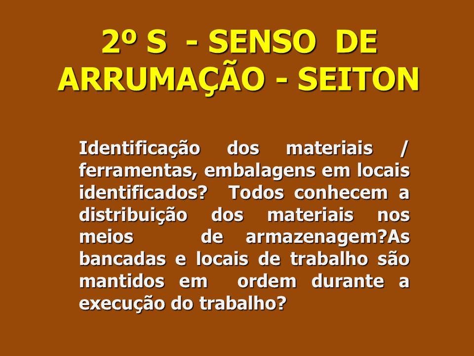 2º S - SENSO DE ARRUMAÇÃO - SEITON Identificação dos materiais / ferramentas, embalagens em locais identificados? Todos conhecem a distribuição dos ma