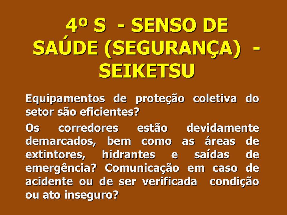 4º S - SENSO DE SAÚDE (SEGURANÇA) - SEIKETSU Equipamentos de proteção coletiva do setor são eficientes? Os corredores estão devidamente demarcados, be
