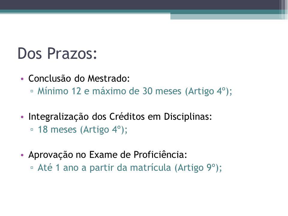 Dos Prazos: Conclusão do Mestrado: Mínimo 12 e máximo de 30 meses (Artigo 4º); Integralização dos Créditos em Disciplinas: 18 meses (Artigo 4º); Aprov