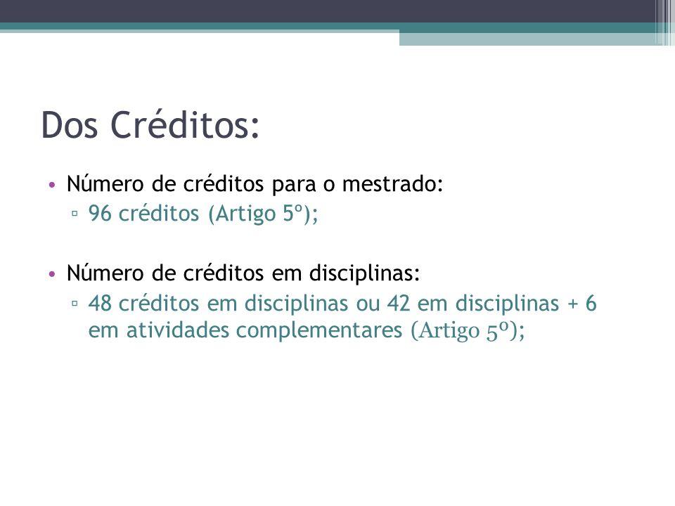 Dos Créditos: Número de créditos para o mestrado: 96 créditos (Artigo 5º); Número de créditos em disciplinas: 48 créditos em disciplinas ou 42 em disc