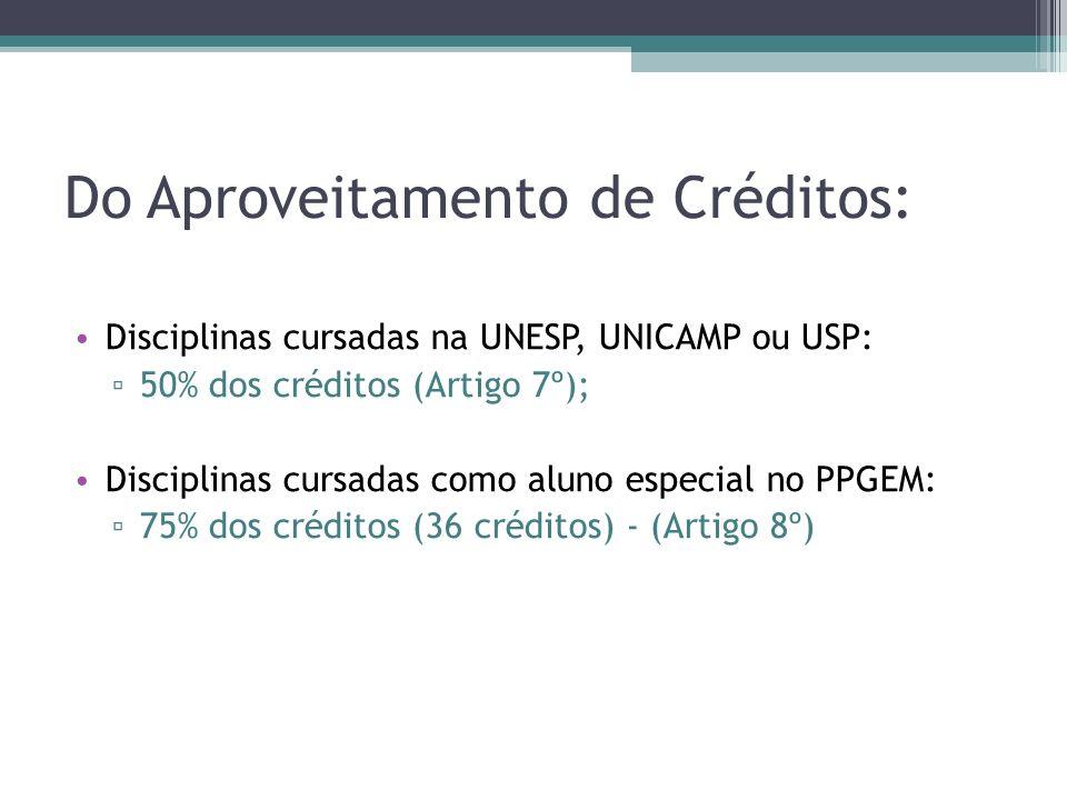 Do Aproveitamento de Créditos: Disciplinas cursadas na UNESP, UNICAMP ou USP: 50% dos créditos (Artigo 7º); Disciplinas cursadas como aluno especial n