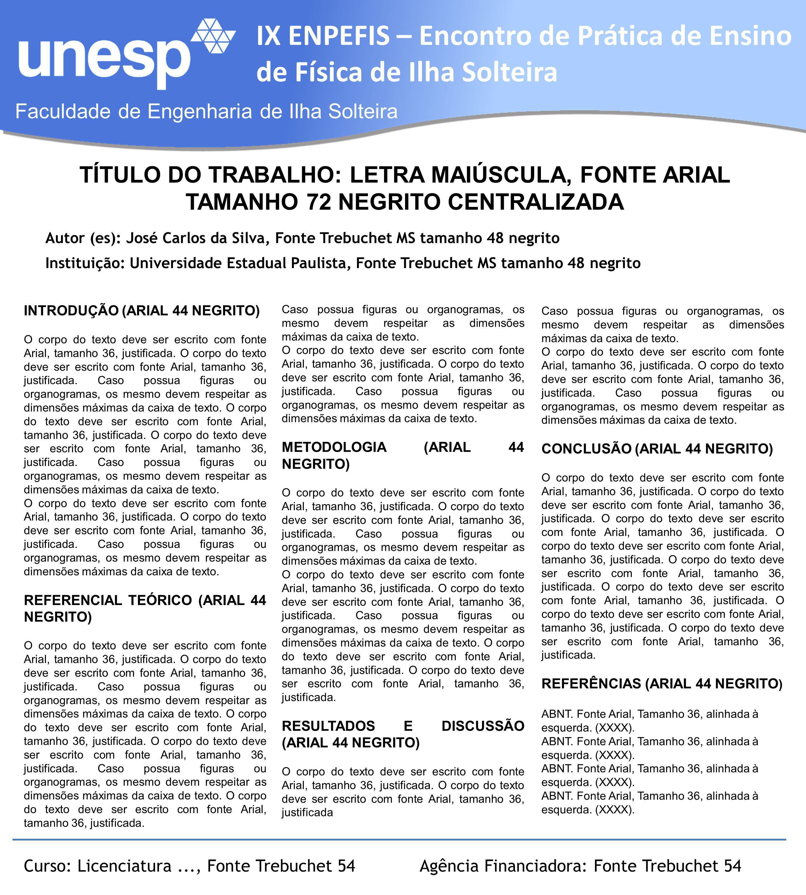 Faculdade de Engenharia de Ilha Solteira IX ENPEFIS – Encontro de Prática de Ensino de Física de Ilha Solteira Autor (es): José Carlos da Silva, Fonte