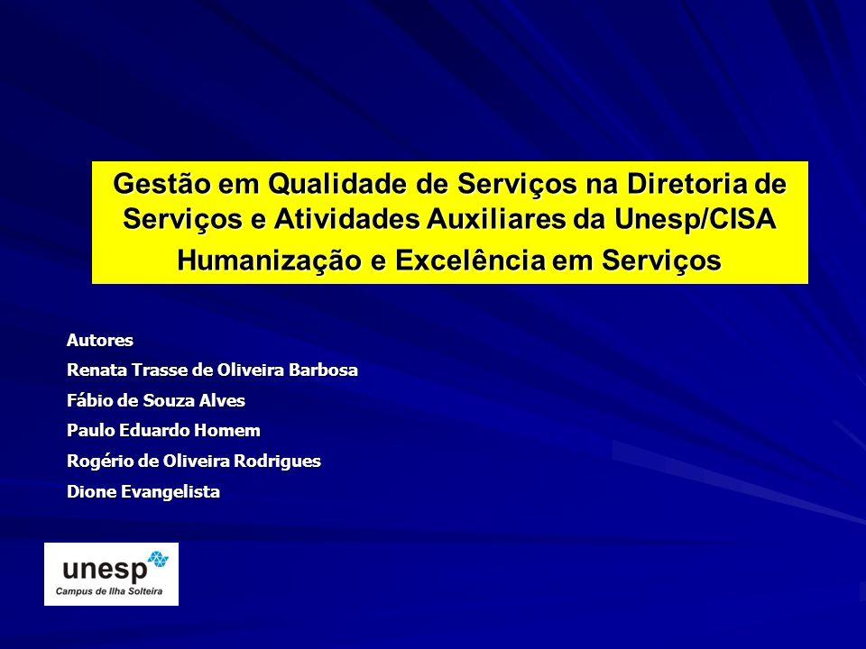 Gestão em Qualidade de Serviços na Diretoria de Serviços e Atividades Auxiliares da Unesp/CISA Humanização e Excelência em Serviços Autores Renata Tra