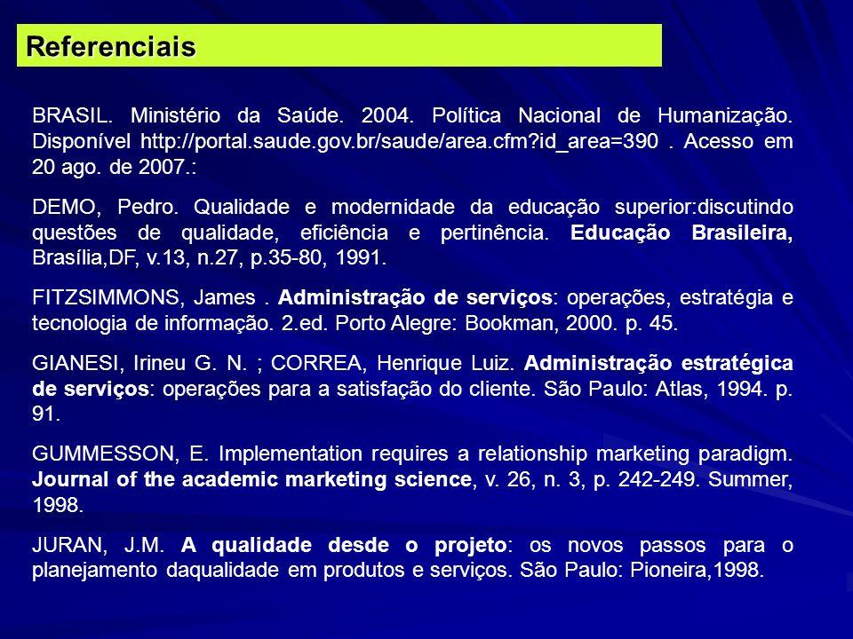 Referenciais BRASIL. Ministério da Saúde. 2004. Política Nacional de Humanização. Disponível http://portal.saude.gov.br/saude/area.cfm?id_area=390. Ac