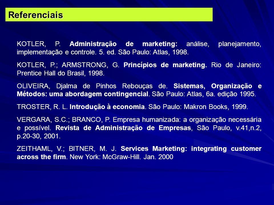 KOTLER, P. Administração de marketing: análise, planejamento, implementação e controle. 5. ed. São Paulo: Atlas, 1998. KOTLER, P.; ARMSTRONG, G. Princ