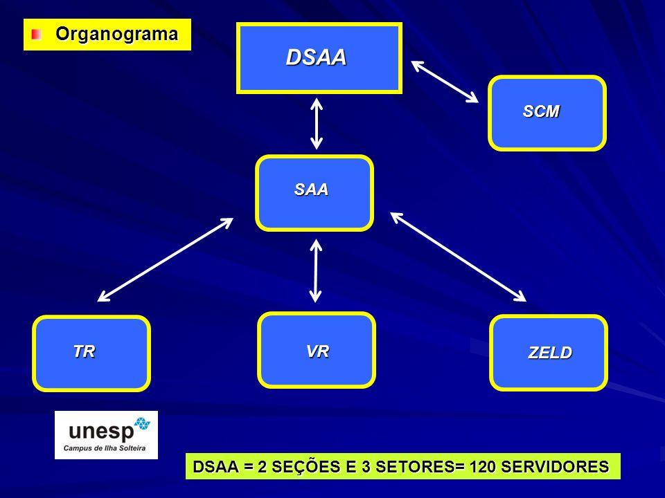 SAA TRVR ZELD SCM DSAA DSAA = 2 SEÇÕES E 3 SETORES= 120 SERVIDORES Organograma