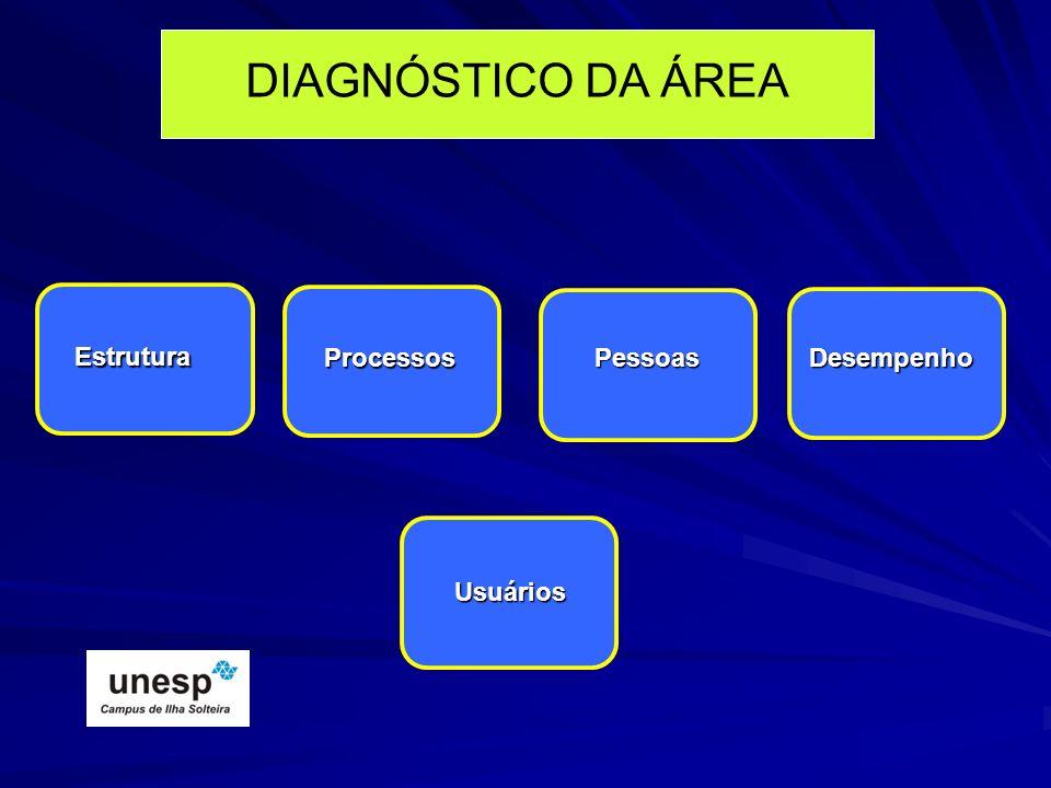 DIAGNÓSTICO DA ÁREA Estrutura Processos PessoasDesempenho Usuários
