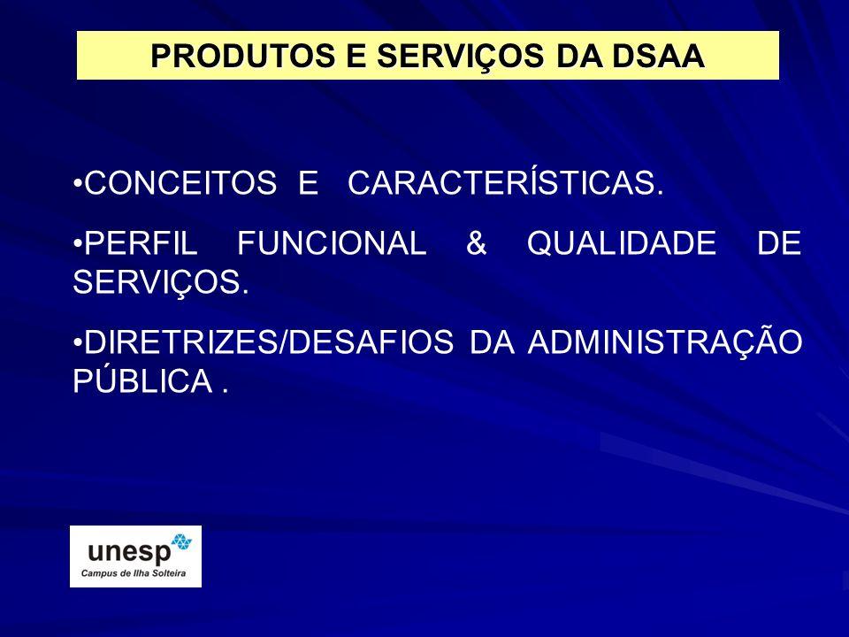 PRODUTOS E SERVIÇOS DA DSAA CONCEITOS E CARACTERÍSTICAS. PERFIL FUNCIONAL & QUALIDADE DE SERVIÇOS. DIRETRIZES/DESAFIOS DA ADMINISTRAÇÃO PÚBLICA.