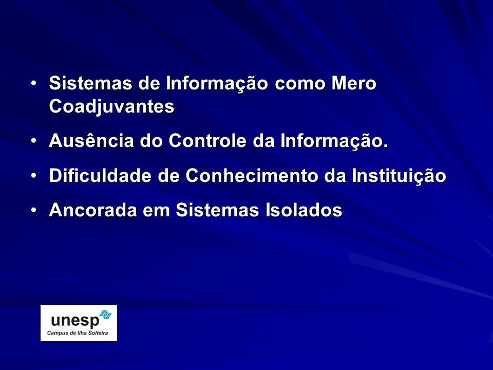 Sistemas de Informação como Mero CoadjuvantesSistemas de Informação como Mero Coadjuvantes Ausência do Controle da Informação.Ausência do Controle da