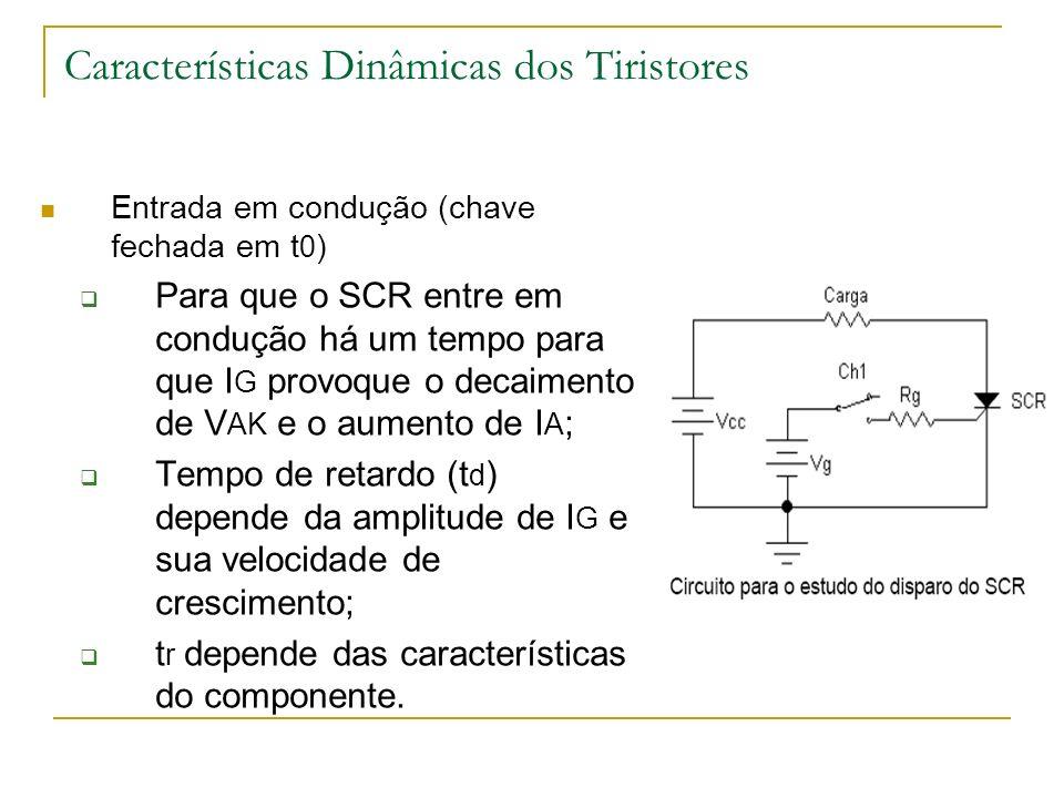 Características Dinâmicas dos Tiristores Entrada em condução (chave fechada em t 0 ) Para que o SCR entre em condução há um tempo para que I G provoque o decaimento de V AK e o aumento de I A ; Tempo de retardo (t d ) depende da amplitude de I G e sua velocidade de crescimento; t r depende das características do componente.