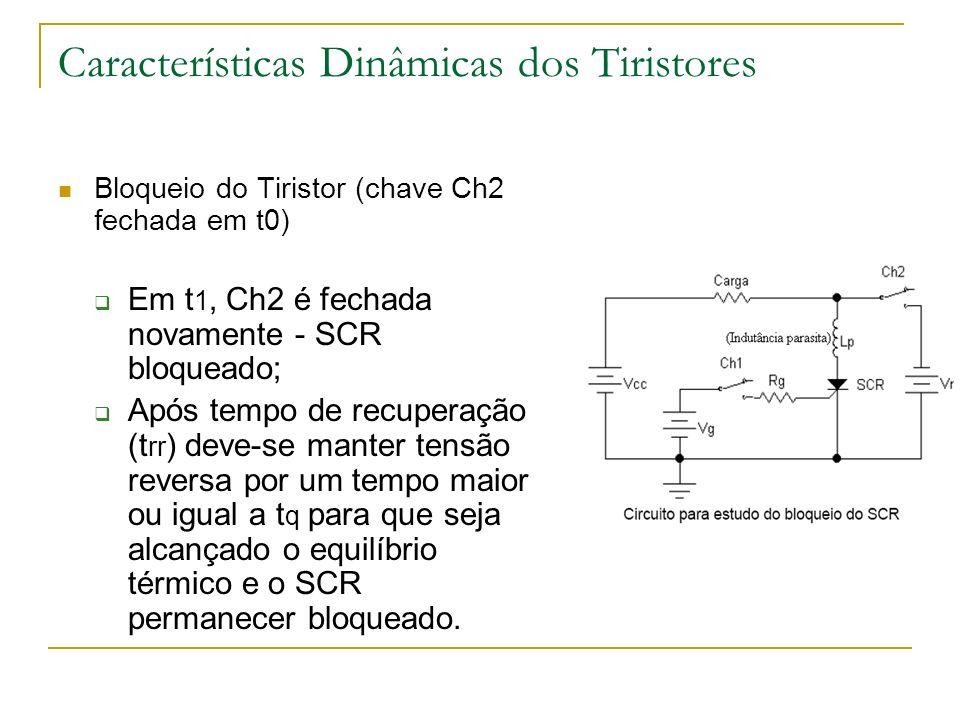 Bloqueio do Tiristor (chave Ch2 fechada em t0) Em t 1, Ch2 é fechada novamente - SCR bloqueado; Após tempo de recuperação (t rr ) deve-se manter tensão reversa por um tempo maior ou igual a t q para que seja alcançado o equilíbrio térmico e o SCR permanecer bloqueado.