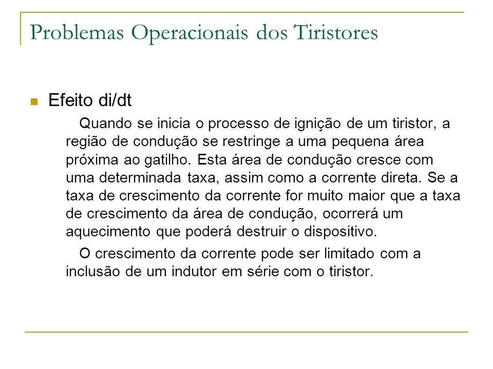 Problemas Operacionais dos Tiristores Efeito di/dt Quando se inicia o processo de ignição de um tiristor, a região de condução se restringe a uma pequena área próxima ao gatilho.