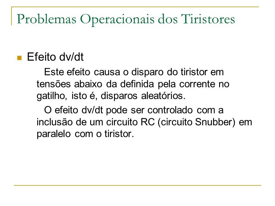 Problemas Operacionais dos Tiristores Efeito dv/dt Este efeito causa o disparo do tiristor em tensões abaixo da definida pela corrente no gatilho, isto é, disparos aleatórios.