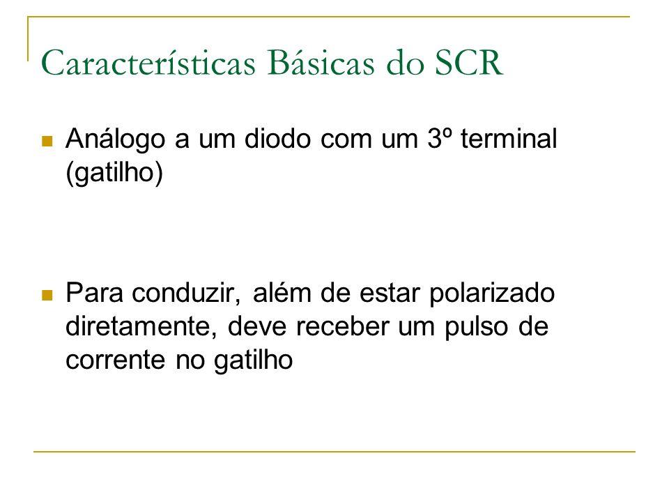 Características Básicas do SCR Análogo a um diodo com um 3º terminal (gatilho) Para conduzir, além de estar polarizado diretamente, deve receber um pulso de corrente no gatilho