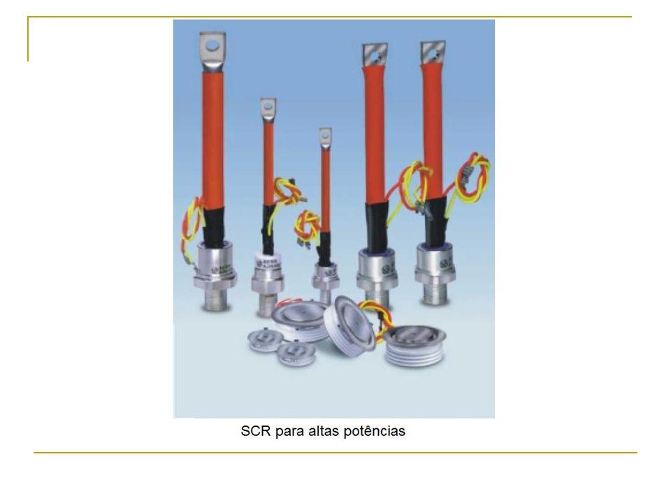 Características do SCR Apresentam alta velocidade de comutação e elevada vida útil; Possuem resistência elétrica variável com a temperatura, portanto, dependem da potência que estiverem conduzindo;