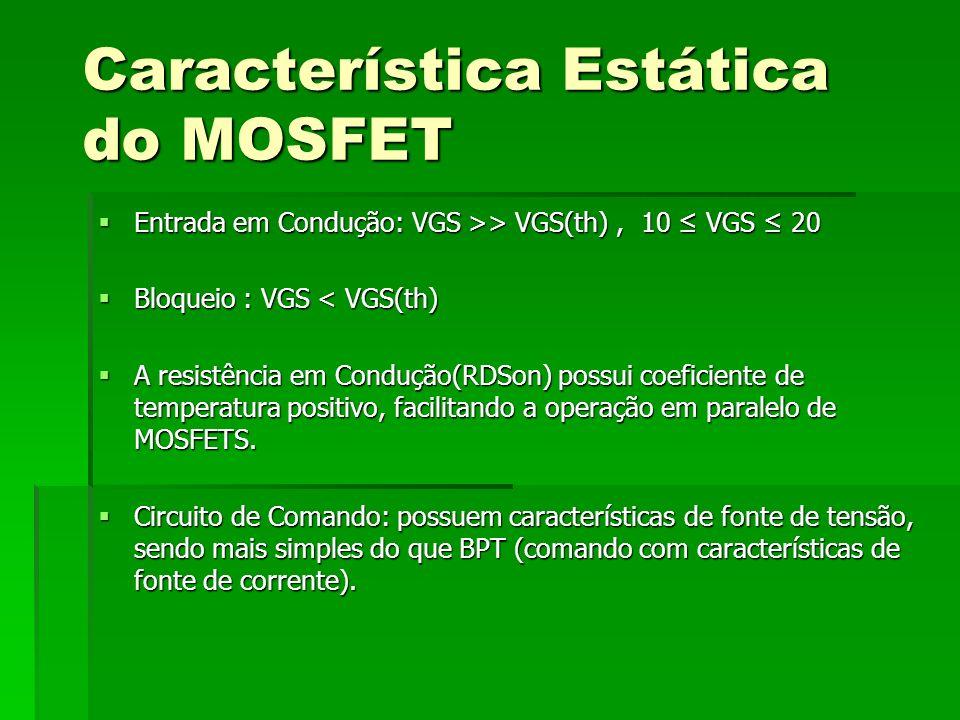Característica Estática do MOSFET Entrada em Condução: VGS >> VGS(th), 10 VGS 20 Entrada em Condução: VGS >> VGS(th), 10 VGS 20 Bloqueio : VGS < VGS(t