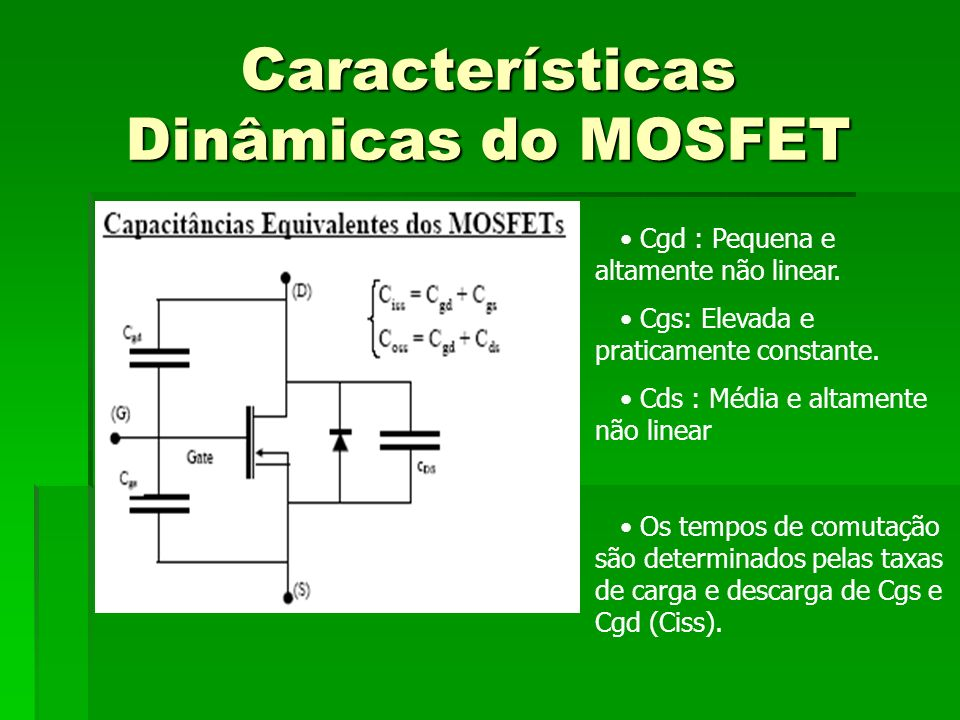 Características Dinâmicas do MOSFET Cgd : Pequena e altamente não linear. Cgs: Elevada e praticamente constante. Cds : Média e altamente não linear Os