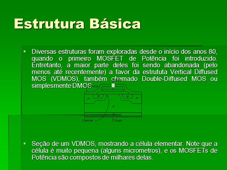 Estrutura Básica Diversas estruturas foram exploradas desde o início dos anos 80, quando o primeiro MOSFET de Potência foi introduzido. Entretanto, a