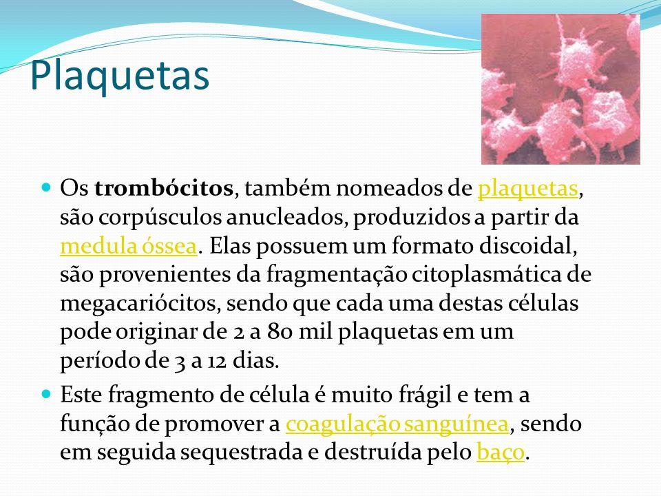 Plaquetas Os trombócitos, também nomeados de plaquetas, são corpúsculos anucleados, produzidos a partir da medula óssea. Elas possuem um formato disco