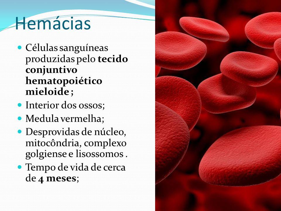 Não se dividem; Apresentam metabolismo baixo; Vertebrados não mamíferos apresentam hemácias nucleadas; Cor: hemoglobina/ vermelho/transporte de oxigênio; Número aproximado de hemácias por mm3 de sangue: –Homens: 5,5 milhões –Mulheres: 5,0 milhões Destruição: Baço e fígado.