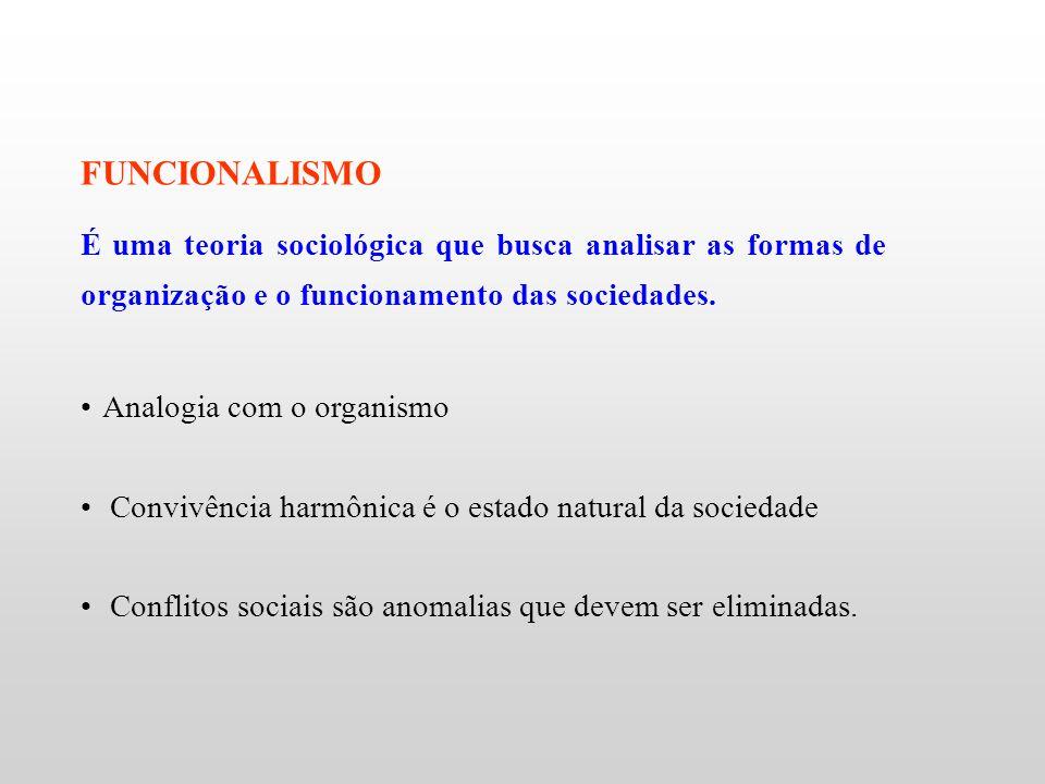 FUNCIONALISMO É uma teoria sociológica que busca analisar as formas de organização e o funcionamento das sociedades. Analogia com o organismo Convivên