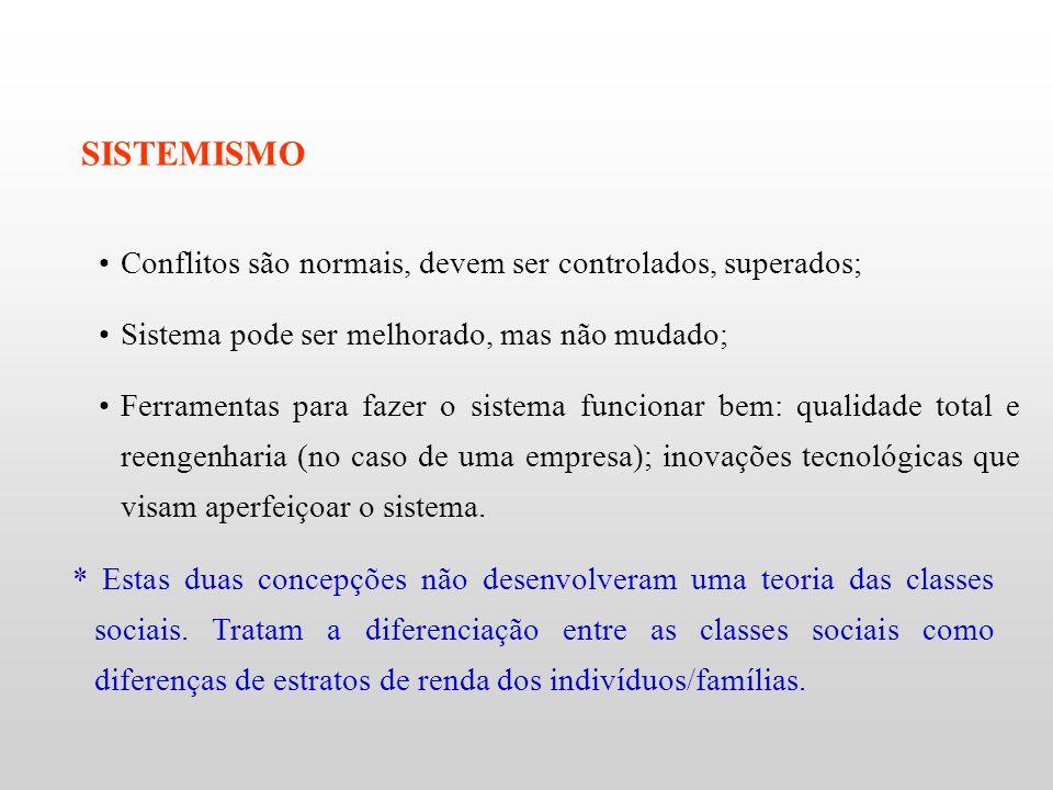 * Estas duas concepções não desenvolveram uma teoria das classes sociais. Tratam a diferenciação entre as classes sociais como diferenças de estratos
