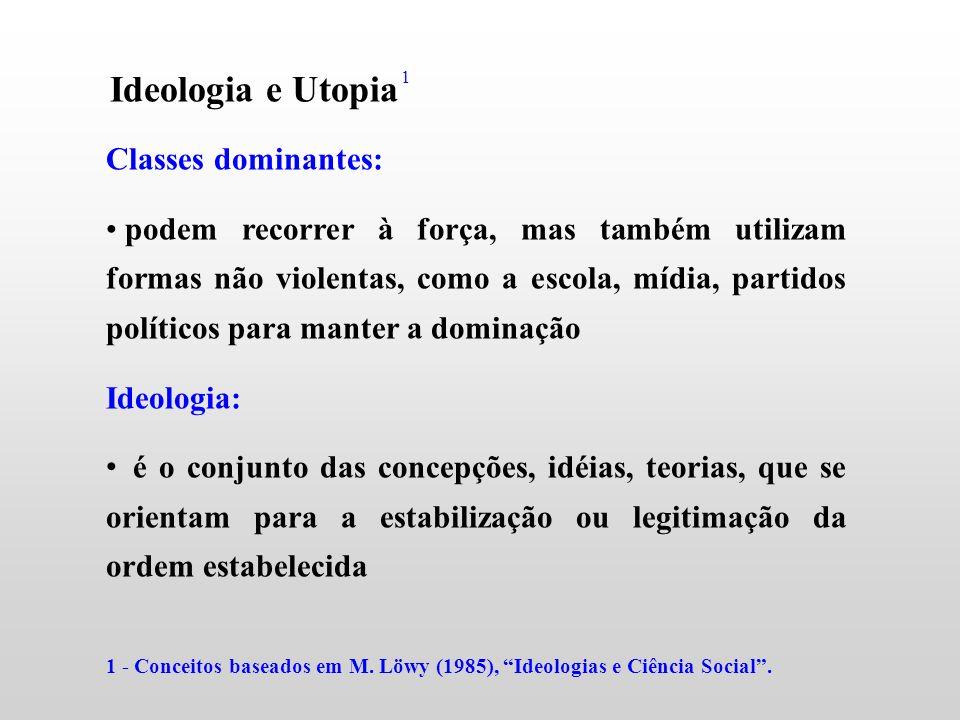 Ideologia e Utopia Classes dominantes: podem recorrer à força, mas também utilizam formas não violentas, como a escola, mídia, partidos políticos para
