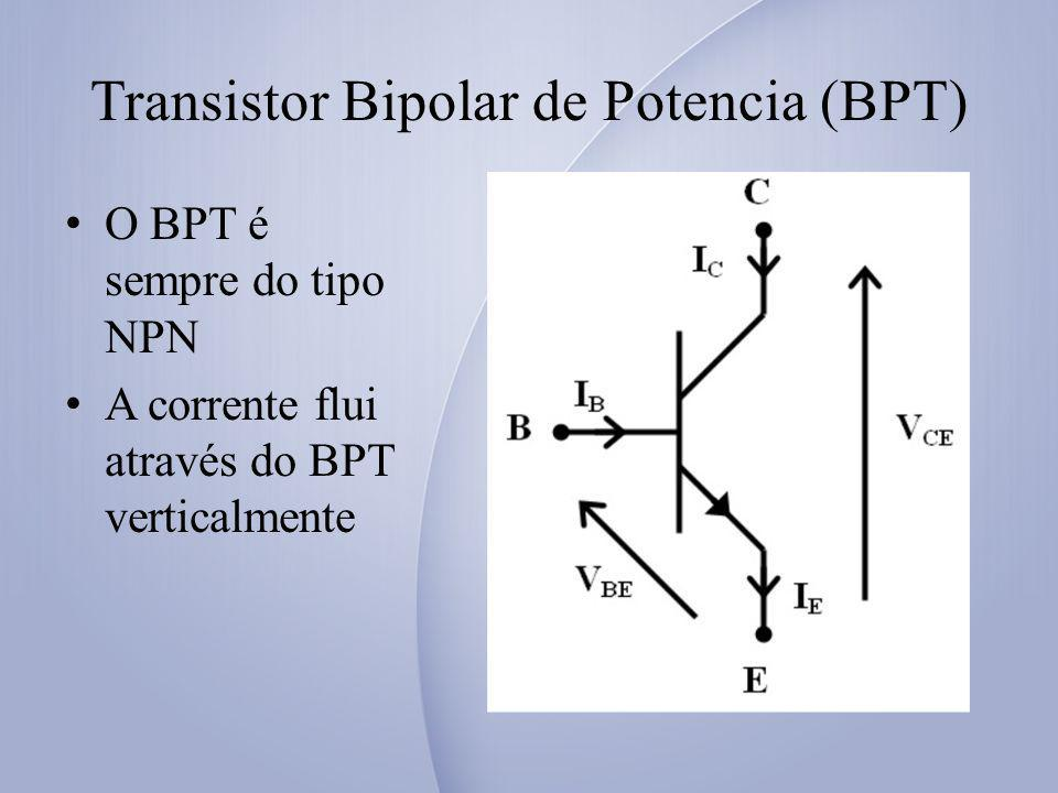Transistor Bipolar de Potencia (BPT) O BPT é sempre do tipo NPN A corrente flui através do BPT verticalmente