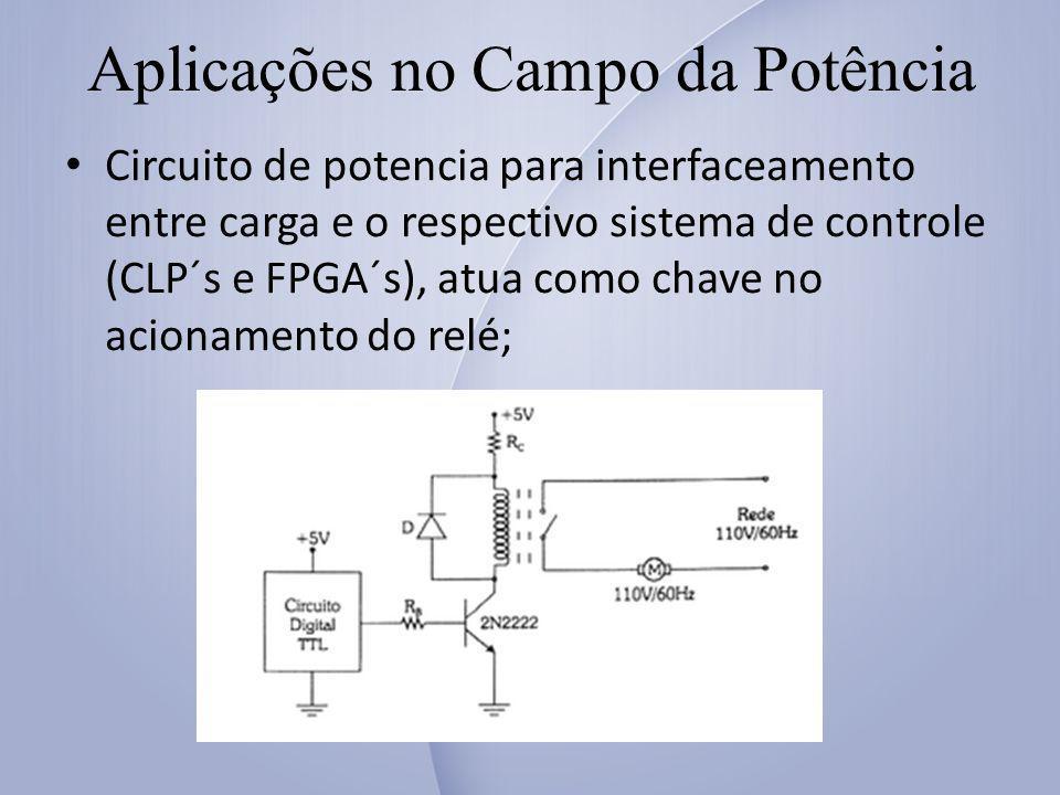 Aplicações no Campo da Potência Circuito de potencia para interfaceamento entre carga e o respectivo sistema de controle (CLP´s e FPGA´s), atua como chave no acionamento do relé;