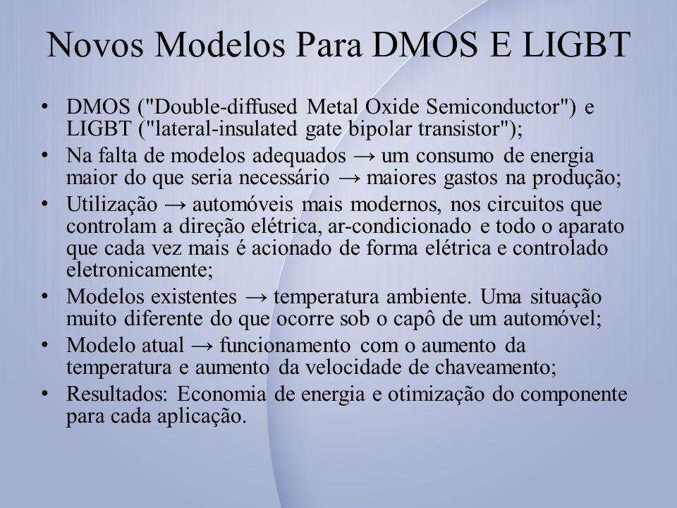 Novos Modelos Para DMOS E LIGBT DMOS ( Double-diffused Metal Oxide Semiconductor ) e LIGBT ( lateral-insulated gate bipolar transistor ); Na falta de modelos adequados um consumo de energia maior do que seria necessário maiores gastos na produção; Utilização automóveis mais modernos, nos circuitos que controlam a direção elétrica, ar-condicionado e todo o aparato que cada vez mais é acionado de forma elétrica e controlado eletronicamente; Modelos existentes temperatura ambiente.