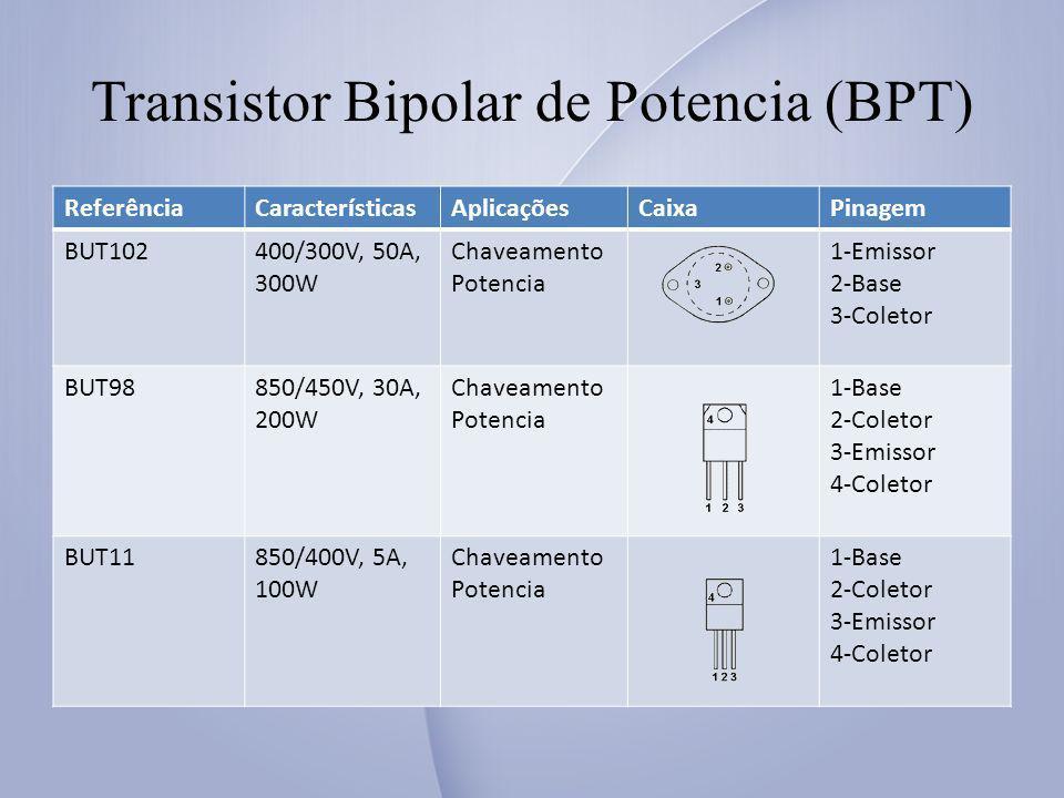 Transistor Bipolar de Potencia (BPT) ReferênciaCaracterísticasAplicaçõesCaixaPinagem BUT102400/300V, 50A, 300W Chaveamento Potencia 1-Emissor 2-Base 3