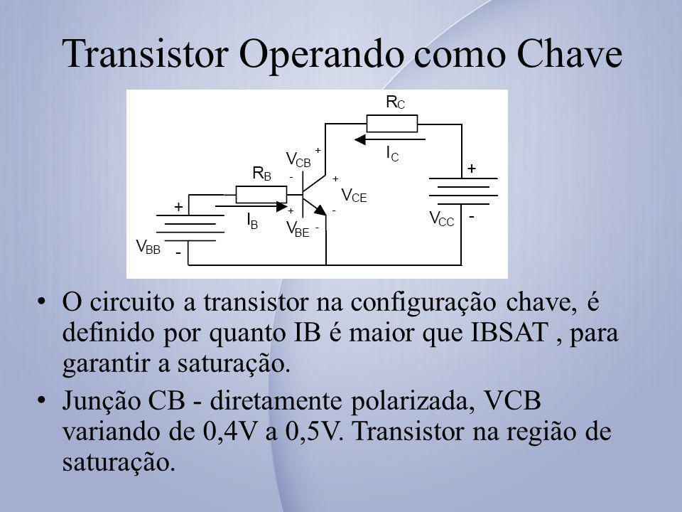 Transistor Operando como Chave O circuito a transistor na configuração chave, é definido por quanto IB é maior que IBSAT, para garantir a saturação.