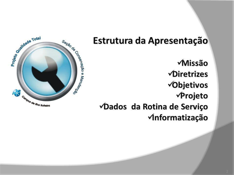 Estrutura da Apresentação Missão Missão Diretrizes Diretrizes Objetivos Objetivos Projeto Projeto Dados da Rotina de Serviço Dados da Rotina de Serviç