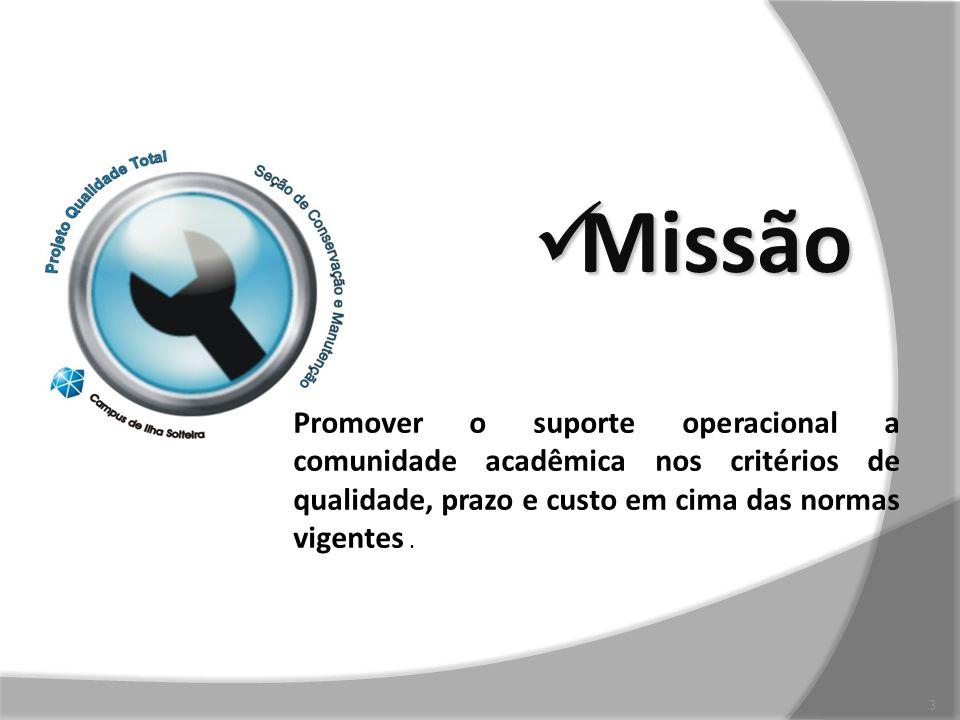 Missão Missão 3 PROMOVER SUPORTE OPERACIONAL A COMUNIDADE ACAD~EMICO DENTRO DOS CRITÉRIOS DE QUALIDADE EM SERVIÇOS Promover o suporte operacional a co