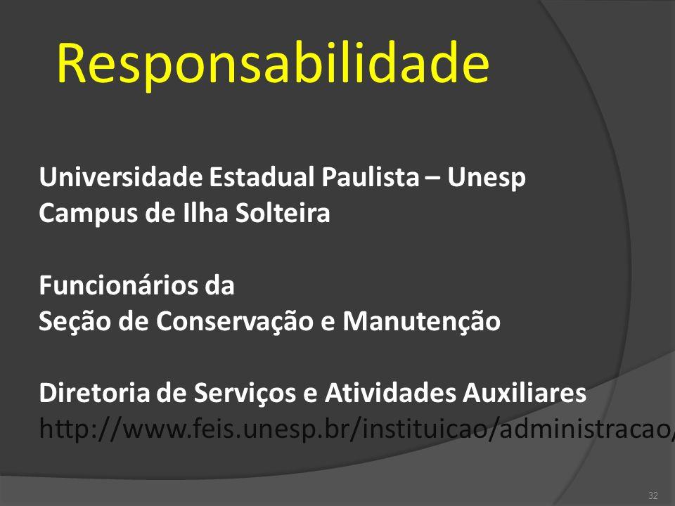 Responsabilidade Universidade Estadual Paulista – Unesp Campus de Ilha Solteira Funcionários da Seção de Conservação e Manutenção Diretoria de Serviço